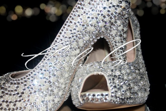 4 or 5 Ivory Pearl Clear Diamond Heels