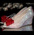 2.5 AB Crystal Bow Peep Toe Wedges