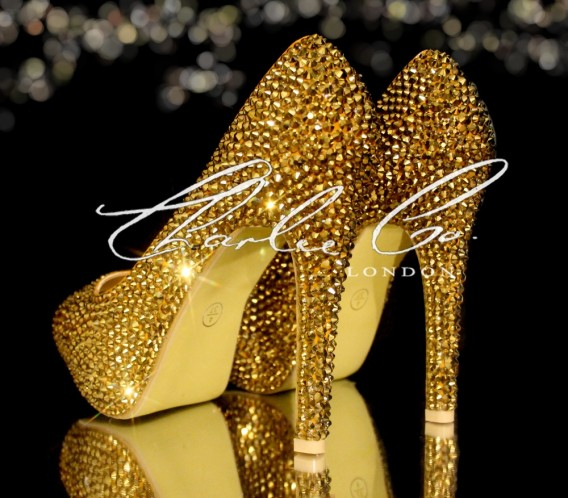 3  4 or 5 Platinum Gold Crystal Heels