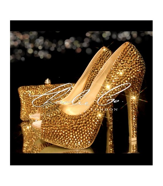3 4 or 5 Platinum Gold Peep Toe Shoe  Bag Set