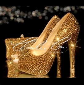 3 4 or 5 Platinum Gold Peep Toe Shoe Bag Set