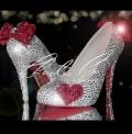 3  4 or 5 Heart  Sole Crystal Heels