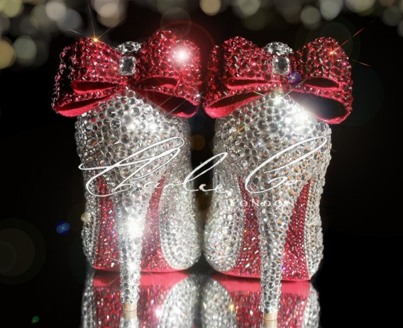 3 4 or 5 Heart Sole Crystal Heels