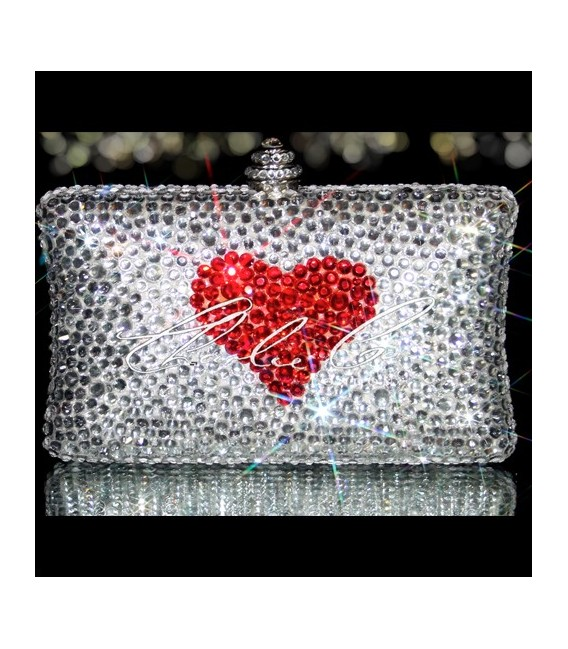 Red Heart Crystal Clutch Bag