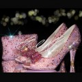 4 Pink Rose Garden Crystal Heels Bag Set