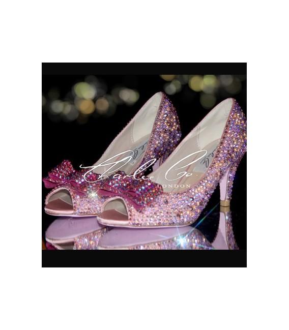 4 Pink Rose Garden Crystal Heels  Bag Set