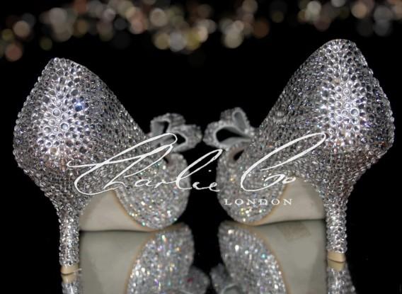 3 Diamond Bow Crystal Court Heels