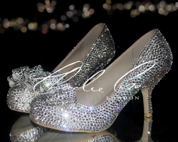 3 Diamond Bow Crystal Court Heels