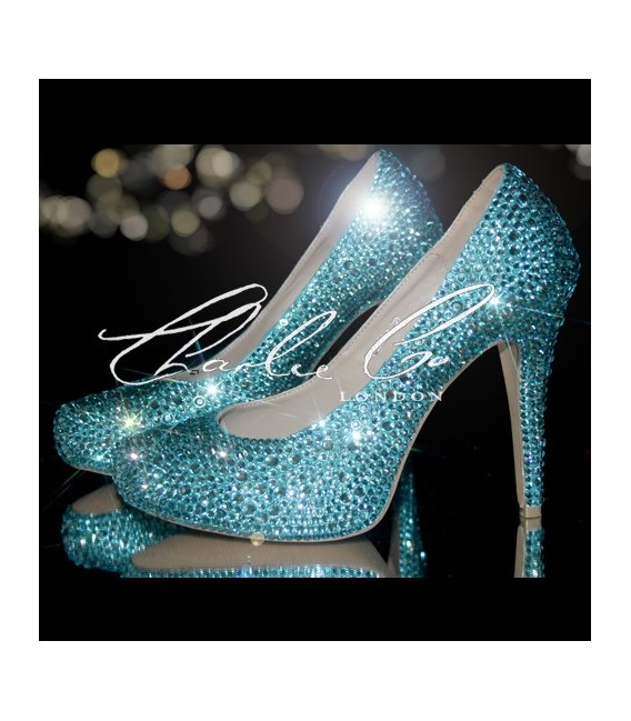 4.5 Aquamarine Tiffany Crystal Closed Toe Court Heels