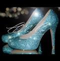 4.5 Aquamarine Tiffany Crystal Closed Toe Court Heels