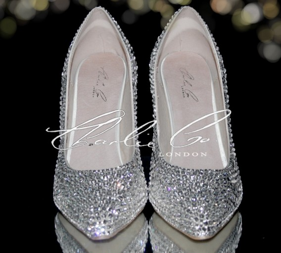 3  4 or 5 Clear Crystal Pointed Toe Heels