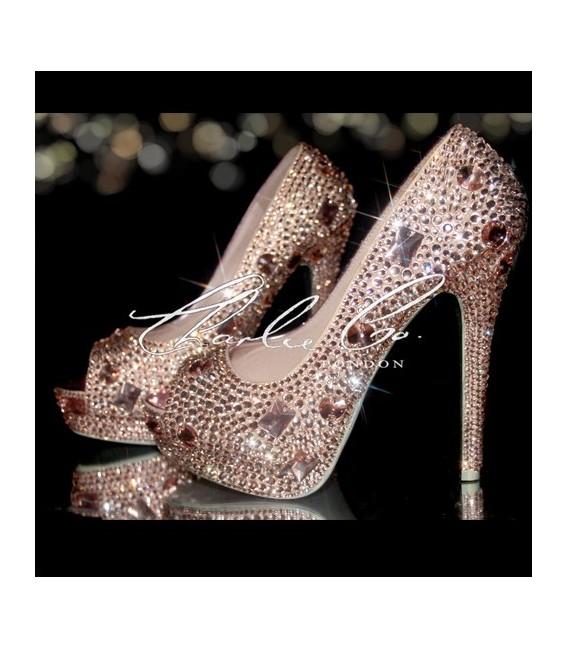 3  4 or 5 Nude Crystal Diamond Frost Peep Toe Heels