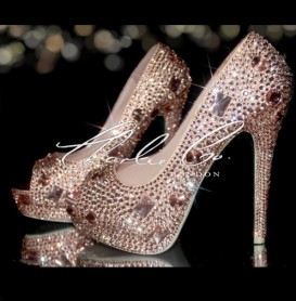 3  4 or 5 Nude Crystal Diamond Frost Peep Toe Heels