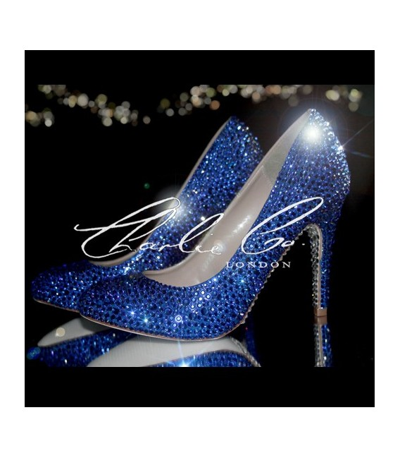 4 Sapphire Blue Round Toe Crystal Court Heels