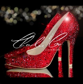 3 4 or 5 Red Crystal Pointed Toe Heels