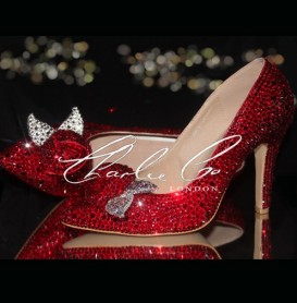 3 4 or 5 Valentine Red Crystal Rose Pointed Toe Heels