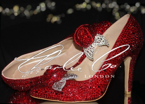 3  4 or 5 Valentine Red Crystal Rose Pointed Toe Heels