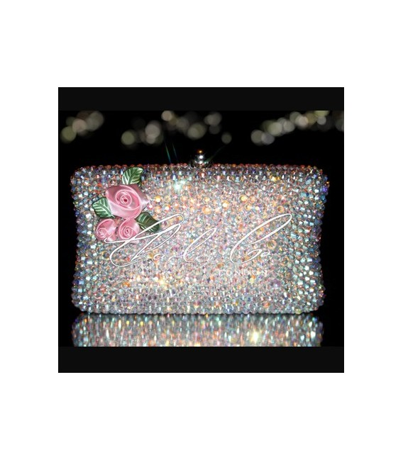 Dolls House 3D Flower Crystal Hardcase Clutch Bag