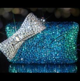 Deep Sea Crystal Bow Clutch Bag