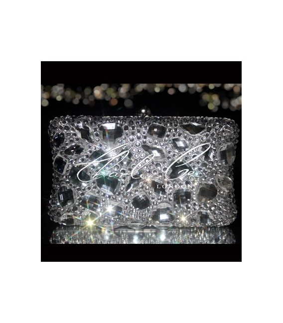 Clear Diamond Frost Crystal Clutch Bag  Non Cased Crystal Version