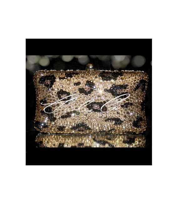 Classic Leopard Print Crystal Hardcase Clutch Bag