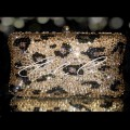 Classic Leopard Print Crystal Hardcase Clutch Bag