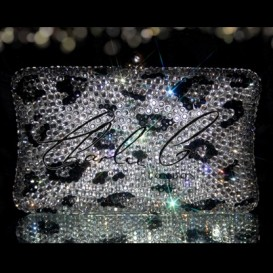 Black Diamond Leopard Print Hard Case Clutch Bag