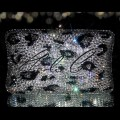 Black Diamond Leopard Print Hard Case Clutch Bag