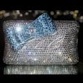 Belle Blue Crystal Clutch Bag