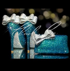 4 5 or 5.5 Deep Sea Crystal Jewelled Shoe Bag Set