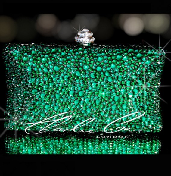 eec823709 Emerald Green Crystal Hard Case Clutch Bag