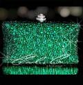 Emerald Green Crystal Hard Case Clutch Bag