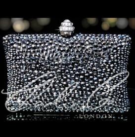 Glass Jet Hematite Crystal Clutch