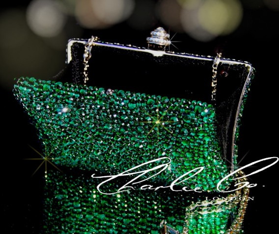 Emerald Green Crystal Hard Case Clutch Bag