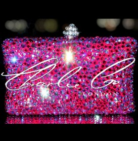 Swarovski Fire Rock Fuchsia AB Pink Clutch Bag