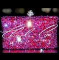 Swarovski Fire  Rock Fuchsia AB Pink Clutch Bag