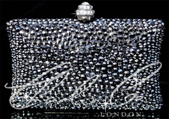 Glass Jet Hematite Crystal Clutch