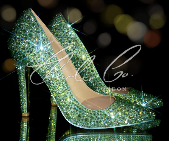 4 or 5 Swarovski AB Peridot Pointed Toe Stilettos