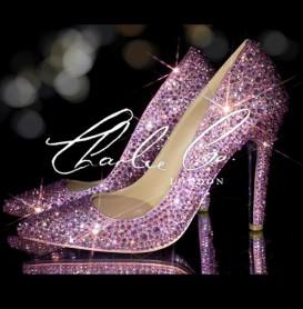 4 Swarovski Rose Pink AB Pointed Toe Stilettos