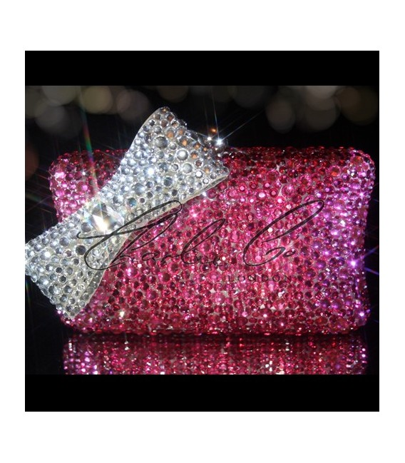 Pretty In Pink Crystal Clutch Bag