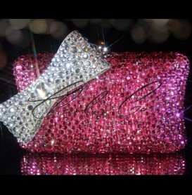 Pretty In Pink Crystal Clutch Bag