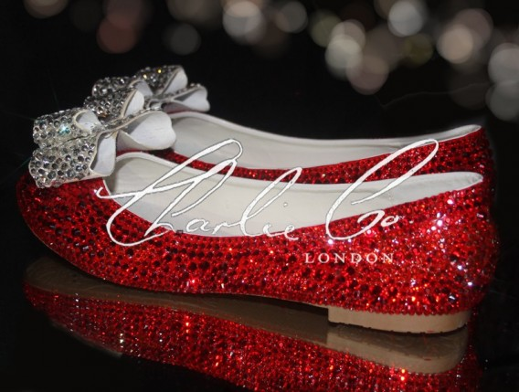 0 Ruby Red Crystal Bow Flats